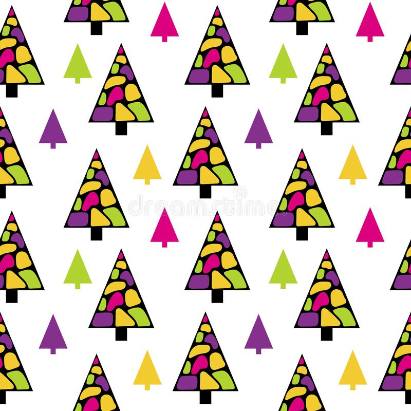 Bright Christmas trees in Memphis style. Mosaic royalty free illustration