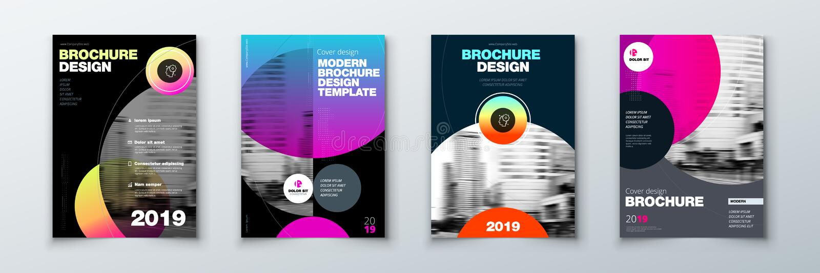 Bright circle Brochure cover design set. Template layout for annual report, magazine, catalog, flyer or booklet in A4 vector illustration