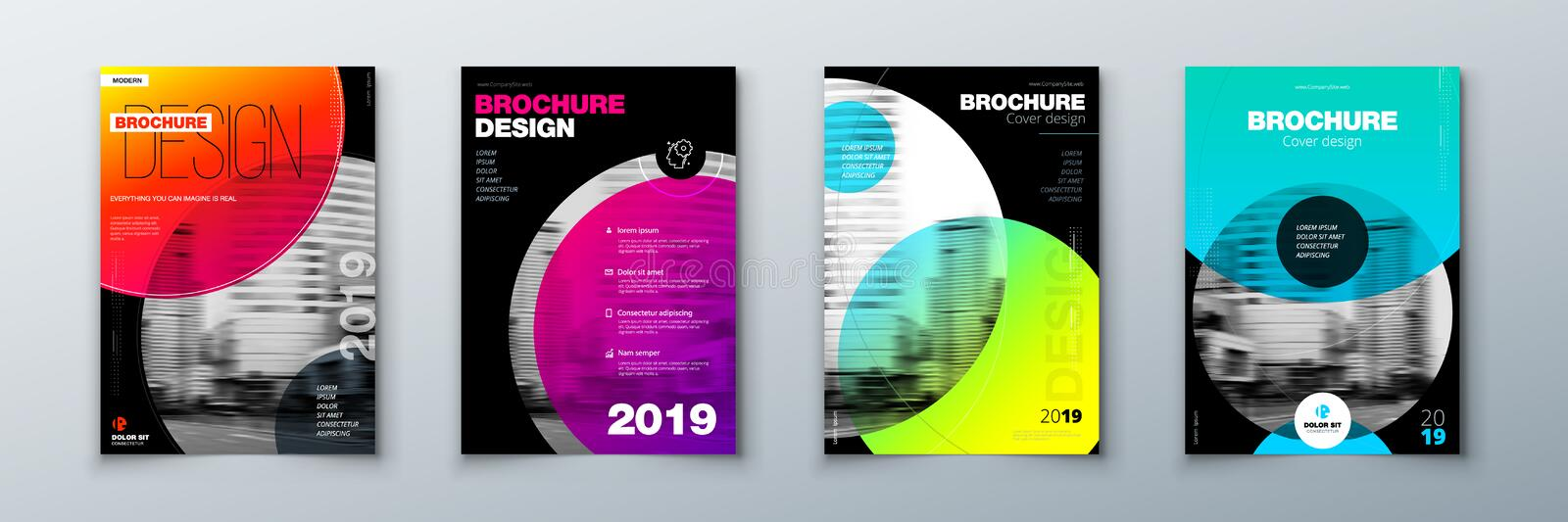 Bright circle Brochure cover design set. Template layout for annual report, magazine, catalog, flyer or booklet in A4. With color circle shapes in swiss or royalty free illustration