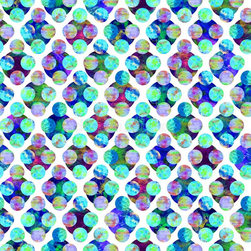 Bright circles forming rhombus abstract grunge colorful splashes texture watercolor seamless pattern design in blue, green. Purple colors palette on white stock illustration