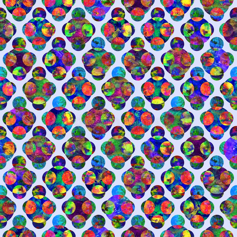 Bright circles forming rhombus abstract grunge colorful splashes texture watercolor seamless pattern design in red, blue, green stock photos