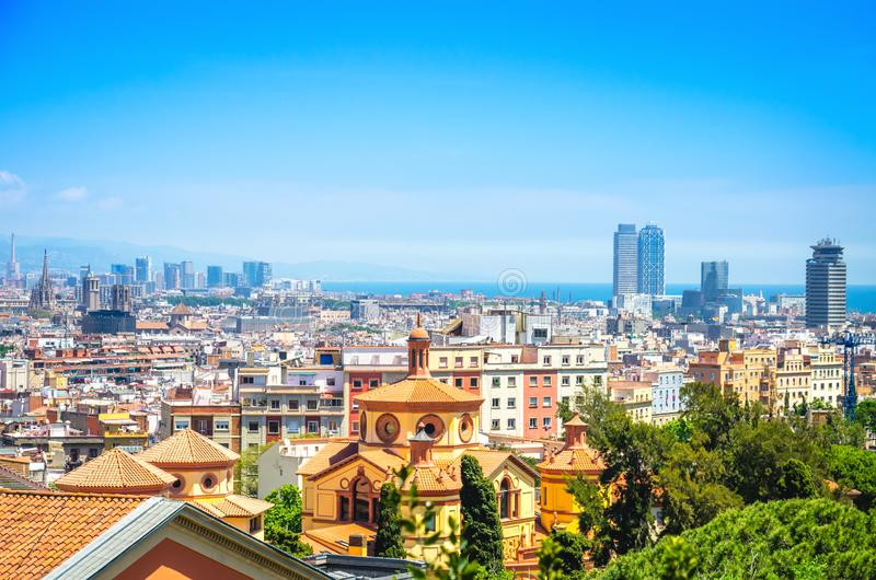 Bright cityscape of Barcelona city with old town, business center and sea.  stock images