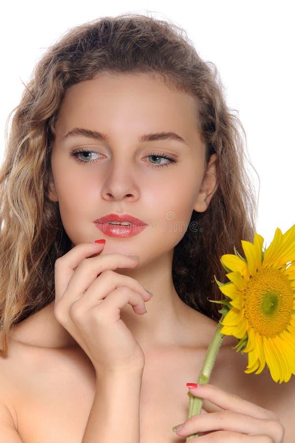 Bright closeup portrait of a beautiful girl royalty free stock photo