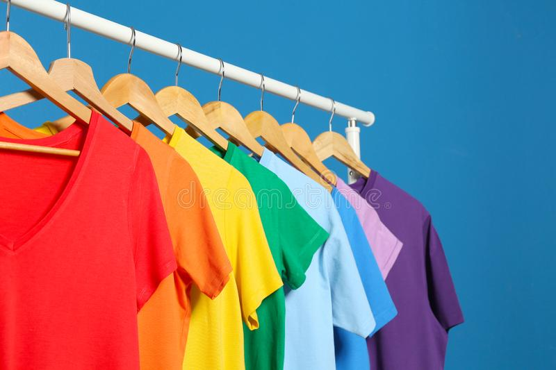 Bright Clothes On Background. Rainbow Colors Stock Photo - Image of clothing,  fast: 167648670