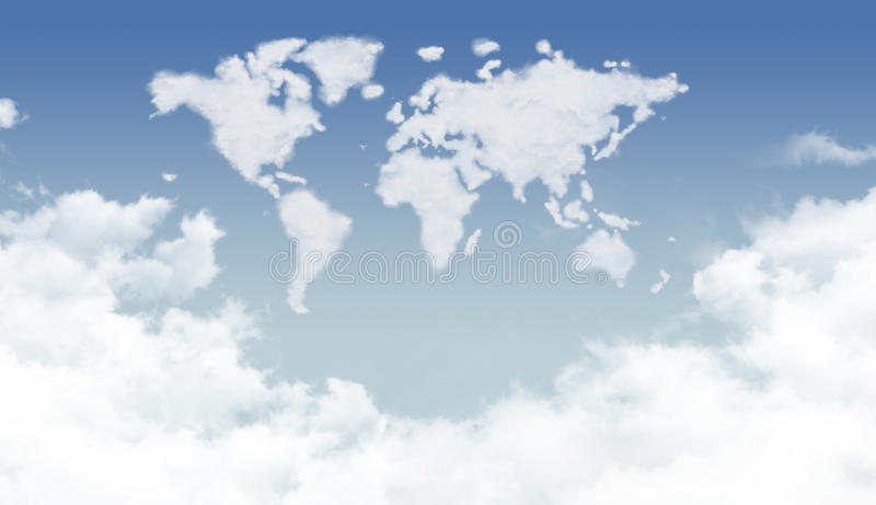 Bright clouds in the world shape. Bright dense clouds in the world shape royalty free stock photography