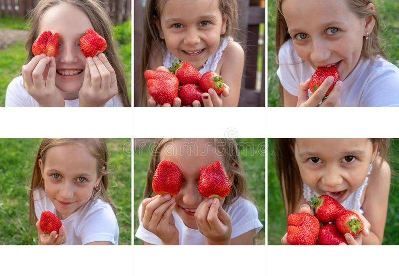 Bright collage of kids with strawberries. Summer concept. Strawberry Eyes. Copy space and mockup. Bright collage of kids with strawberries. Summer concept royalty free stock image