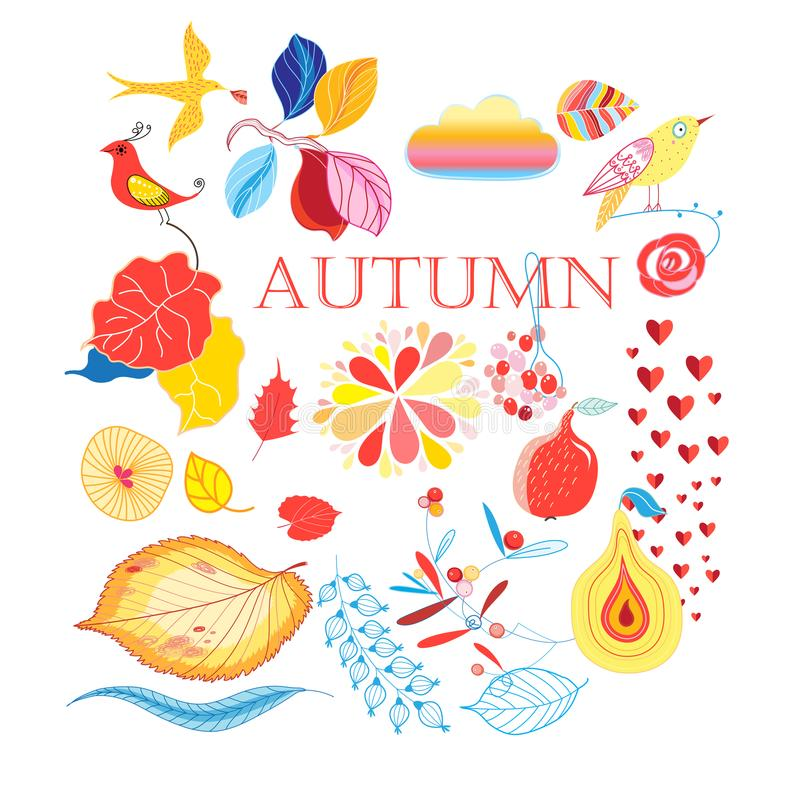 Bright collection of autumn elements royalty free illustration