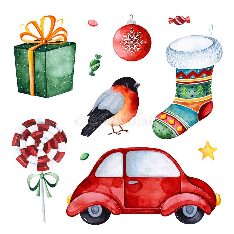 Bright collection with red car,candy,gift,bullfinch,sock and more. Watercolor holiday illustration.Perfect for your Christmas and New Year project,invitations royalty free illustration
