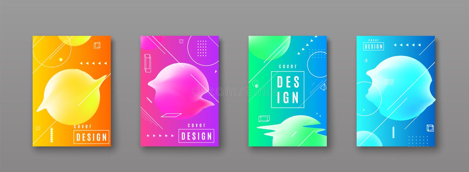 Bright color abstract pattern background with line gradient texture. Geometric shape, glitch round form for minimal dynamic cover design. Blue, pink, yellow stock illustration
