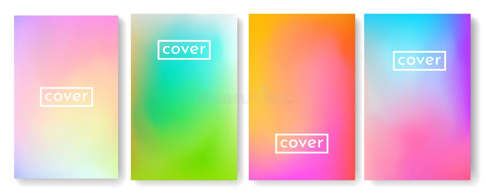 Bright color background with mesh gradient texture for brochure, leaflet, flyer, cover, catalog. Blue, pink, yellow, green placard. Poster template. Vector stock illustration