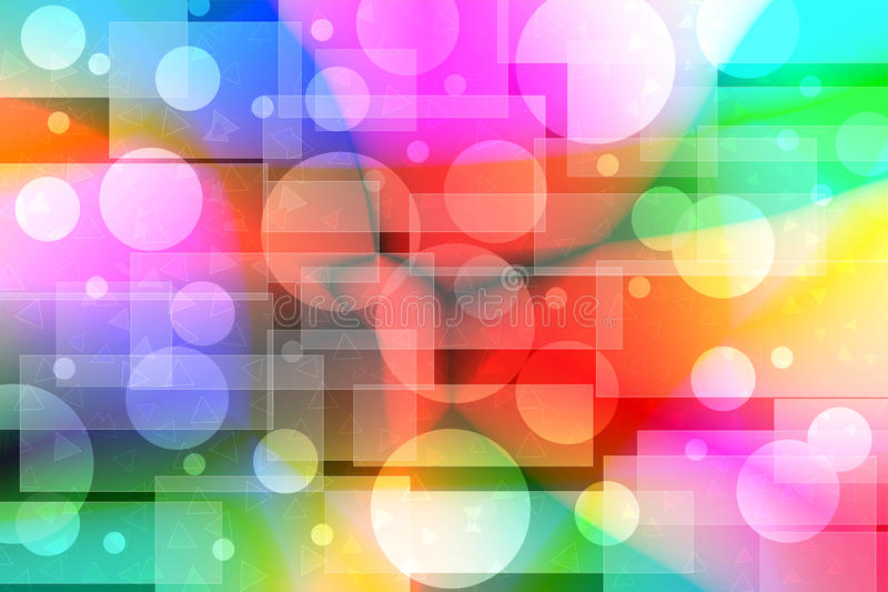 Bright color bokeh background. With circles rectangles and triangles stock illustration