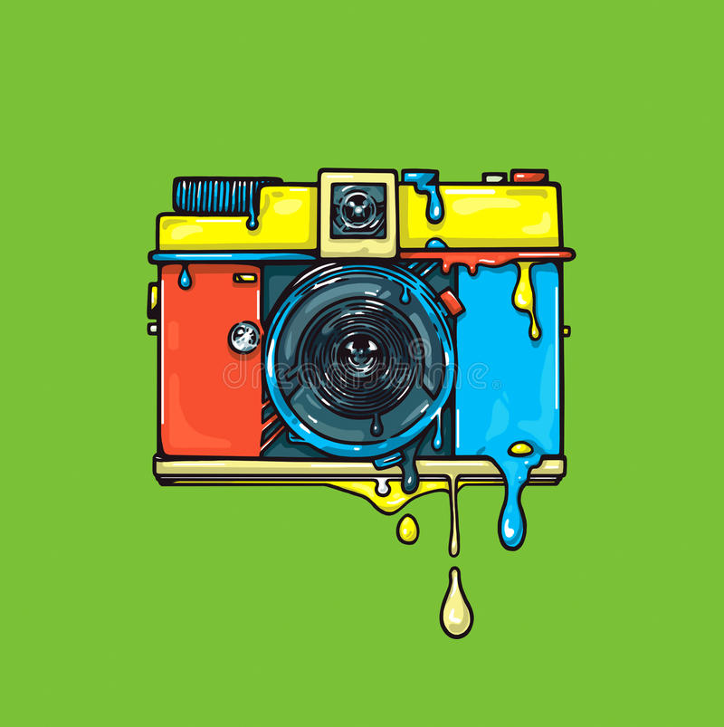 Bright color camera. Artwork. Ð¡olor graphic illustration stock illustration