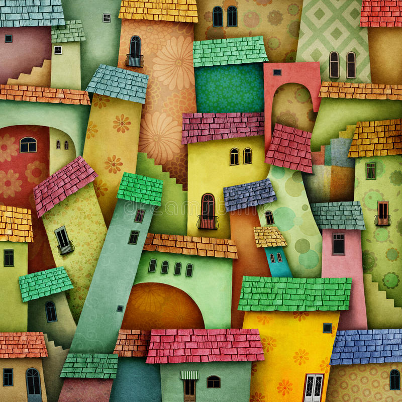 Bright color city royalty free illustration
