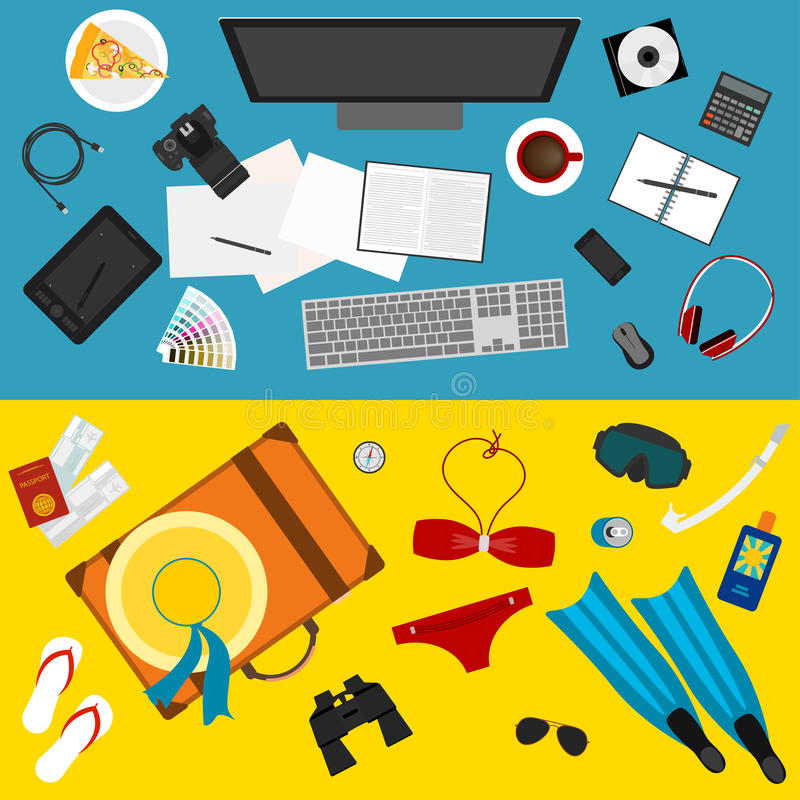 Bright color illustration in trendy flat style with sets of objects that modern people use in everyday life and during rest stock illustration