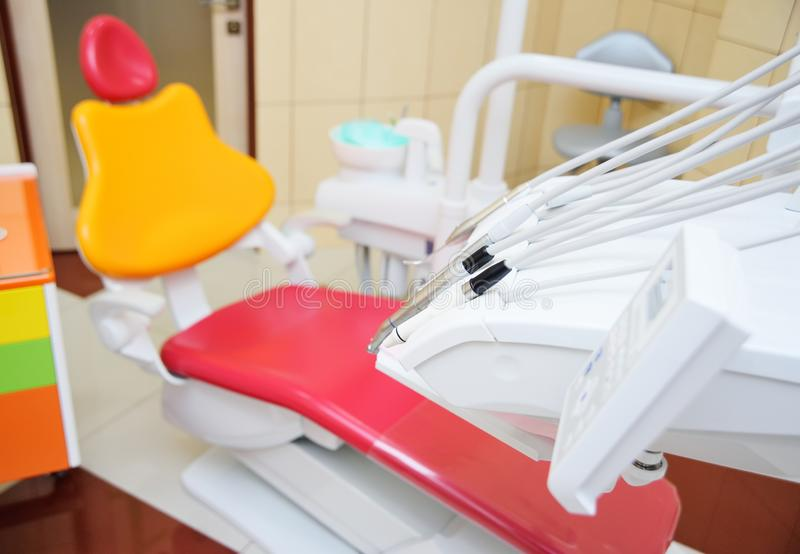 Bright color interior of modern pediatric dentistry. royalty free stock photo