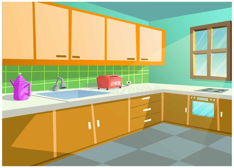 Bright color vector image of the kitchen in the house. The cartoon image of the kitchen in the house is very beautiful vector illustration