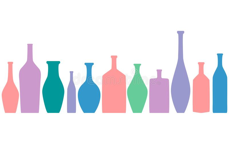 Bright colored bottles in a row, different type of bottles collection, horizontal flat decoration stock illustration