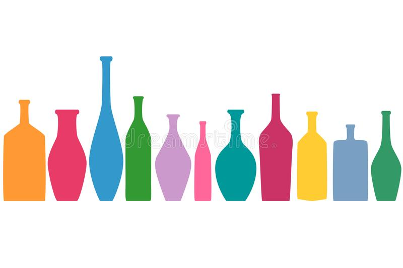 Bright colored bottles in a row, different type of bottles collection, horizontal flat decoration royalty free illustration