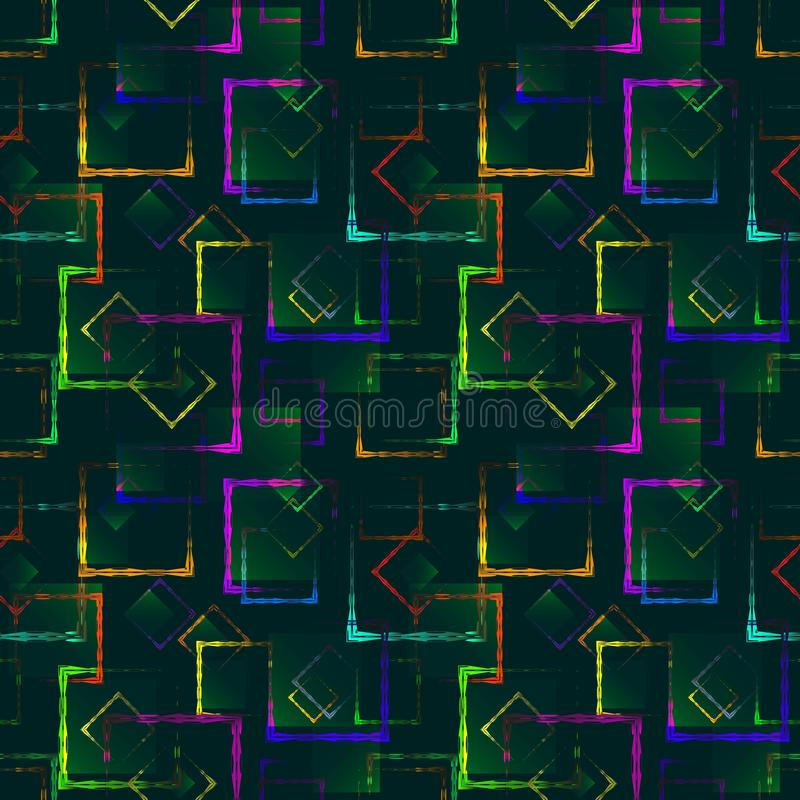 Bright colored carved squares and neon rhombuses for an abstract blue background or pattern. Excellent mood of openwork and carved squares and frames in the royalty free illustration
