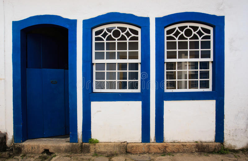 Bright colored facade stock images