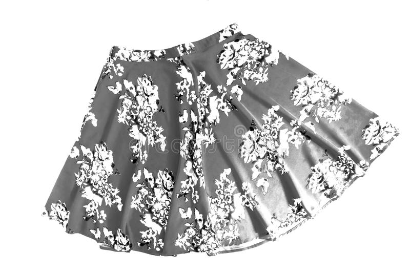 Bright colored fashionable summer floral skirt for women / girl, isolated on white / Stylish summer flower skirt isolated on whit stock images
