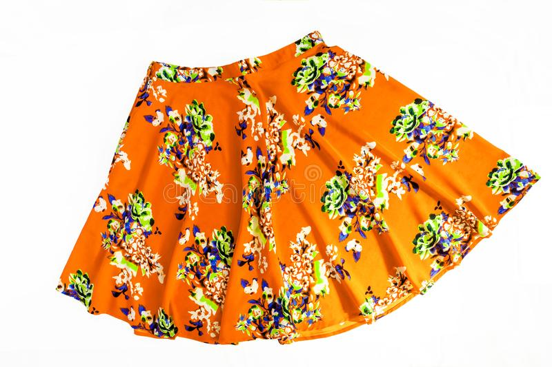 Bright colored fashionable summer floral skirt for women / girl, isolated on white / Stylish summer flower skirt isolated on whit. E background stock image