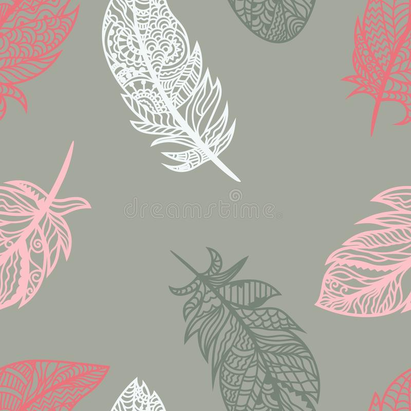 Bright colored feathers on a gray background. Vector for seamless illustration royalty free illustration