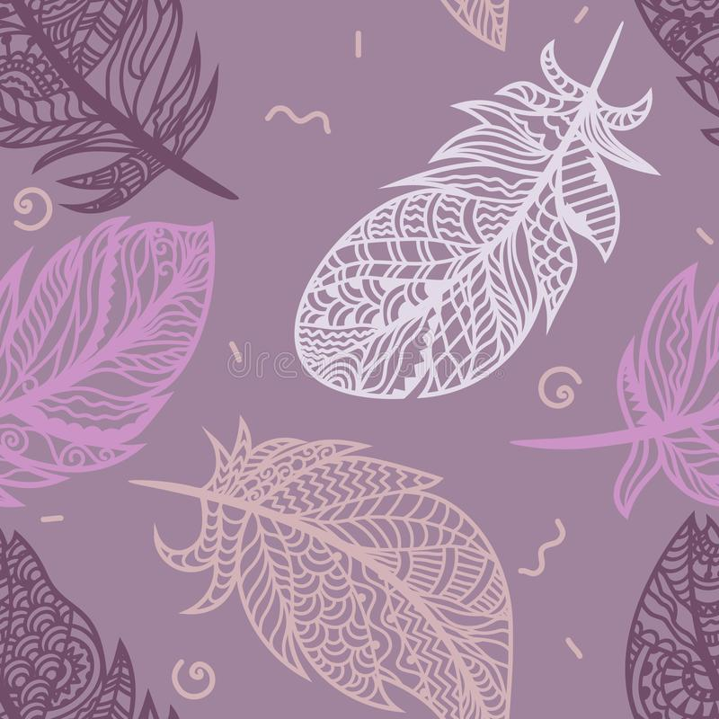 Bright colored feathers on a purple background. Vector for seamless illustration.  vector illustration