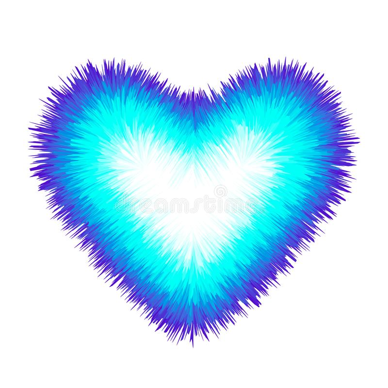 Bright colored fluffy heart with fur texture. The concept of love and valentine`s day. flat vector illustration isolated stock illustration
