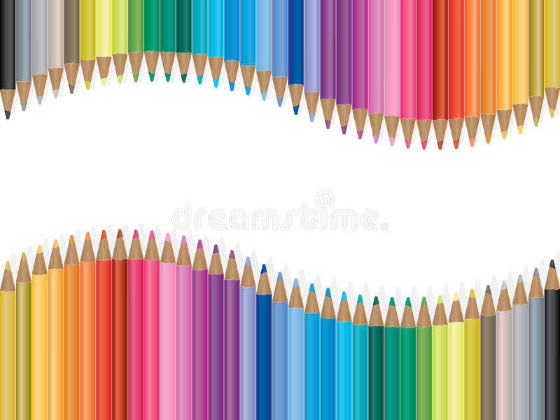 Bright colored pencils illustration stock photography