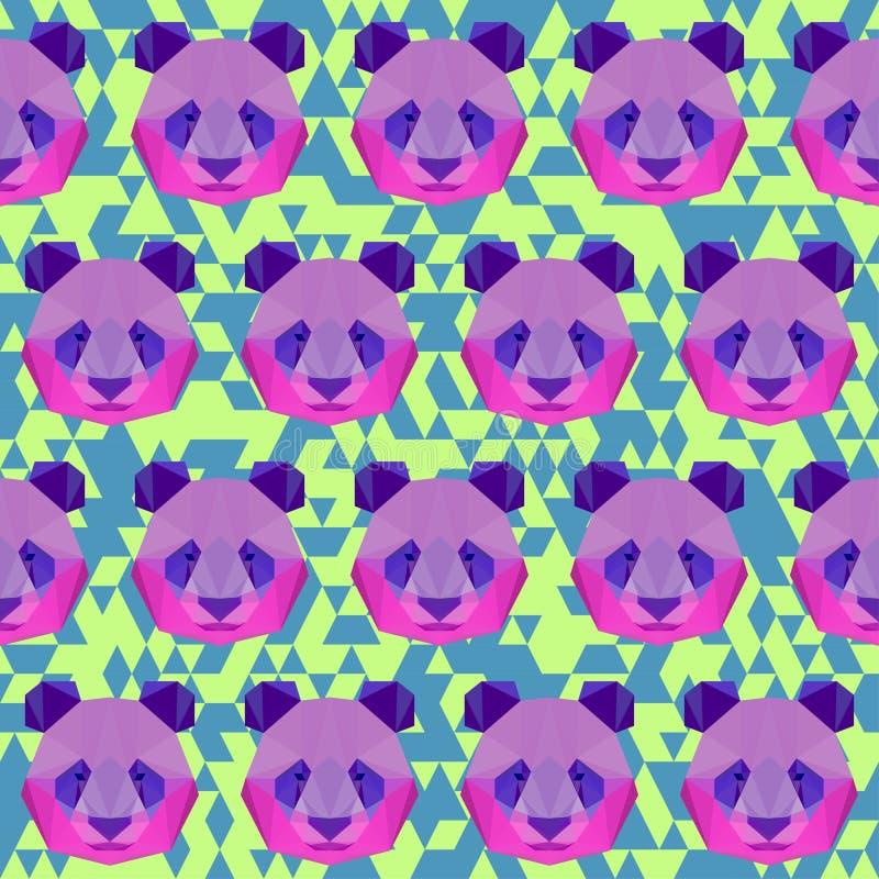Bright colored polygonal panda pattern background vector illustration