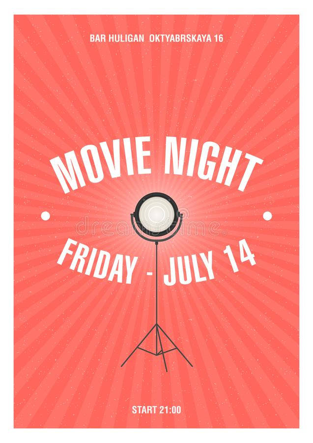Bright colored poster or invitation template for movie night or film festival with glowing spotlight standing on tripod. Drawn in retro style. Vector royalty free illustration