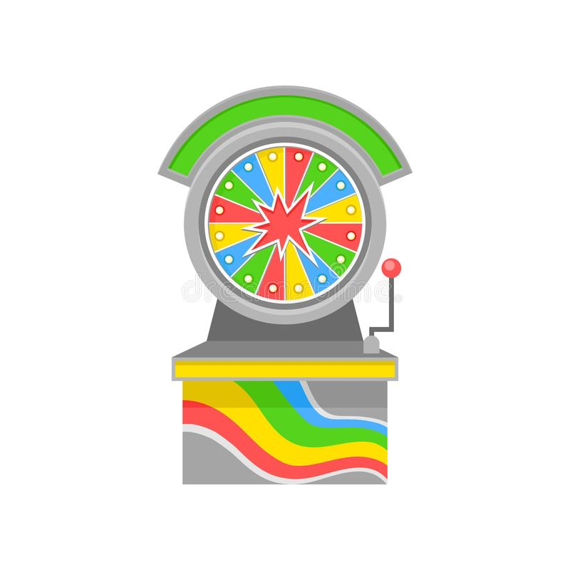 Bright-colored wheel of Fortune. Old-school game machine. Entertainment theme. Flat vector element for promo poster. Bright-colored wheel of Fortune. Old-school vector illustration