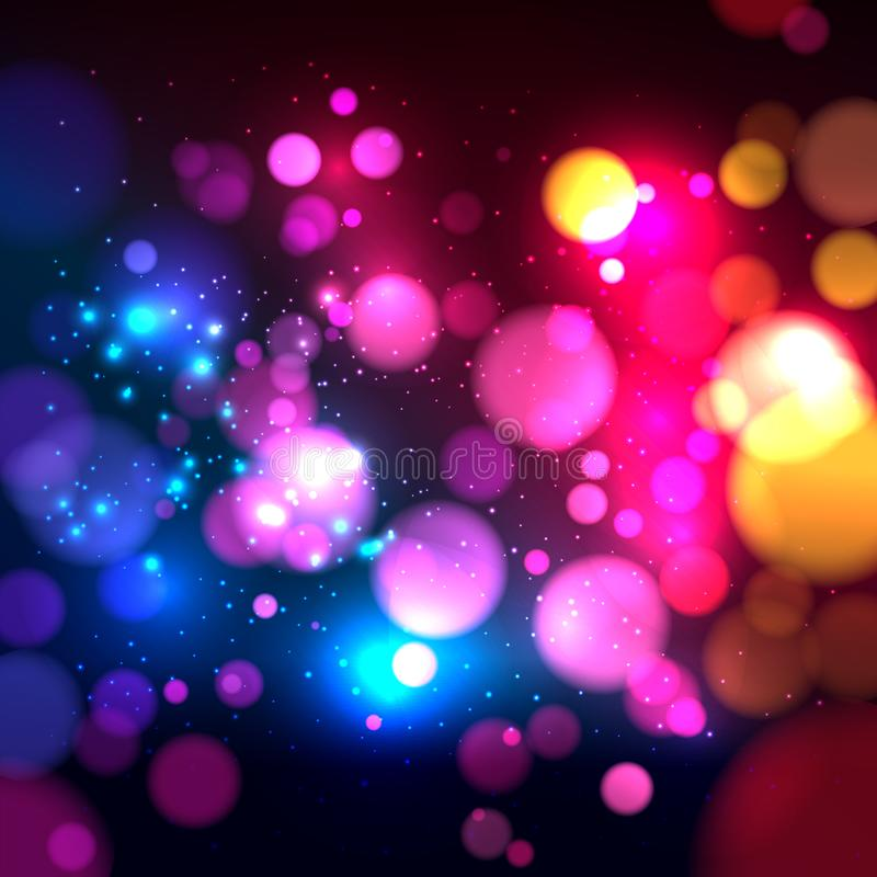 Bright colorful abstract background with defocused light bokeh. Vector illustration vector illustration