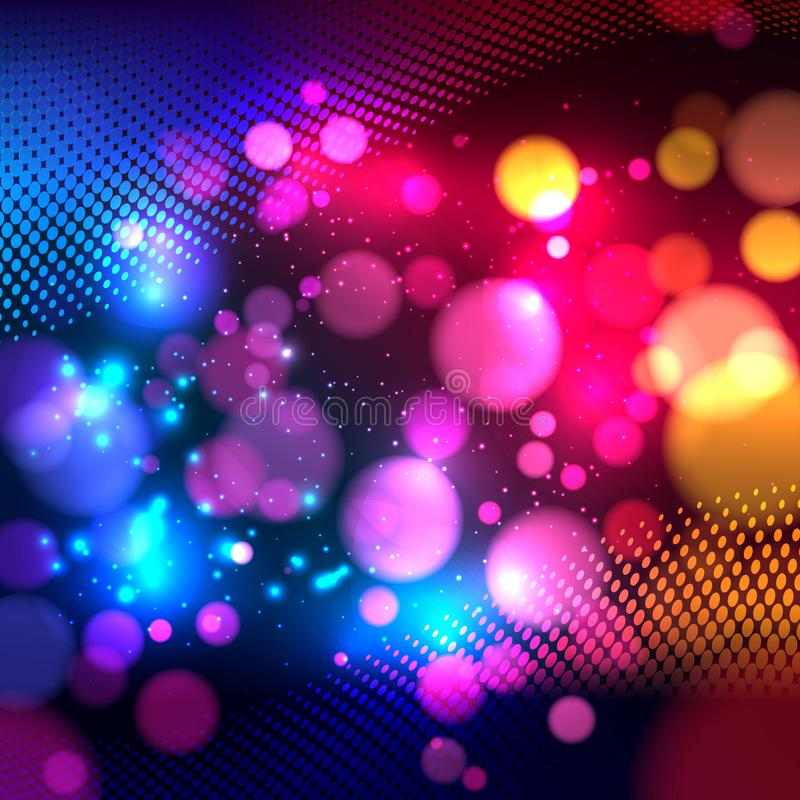 Bright colorful abstract background with defocused light bokeh. Vector illustration royalty free illustration