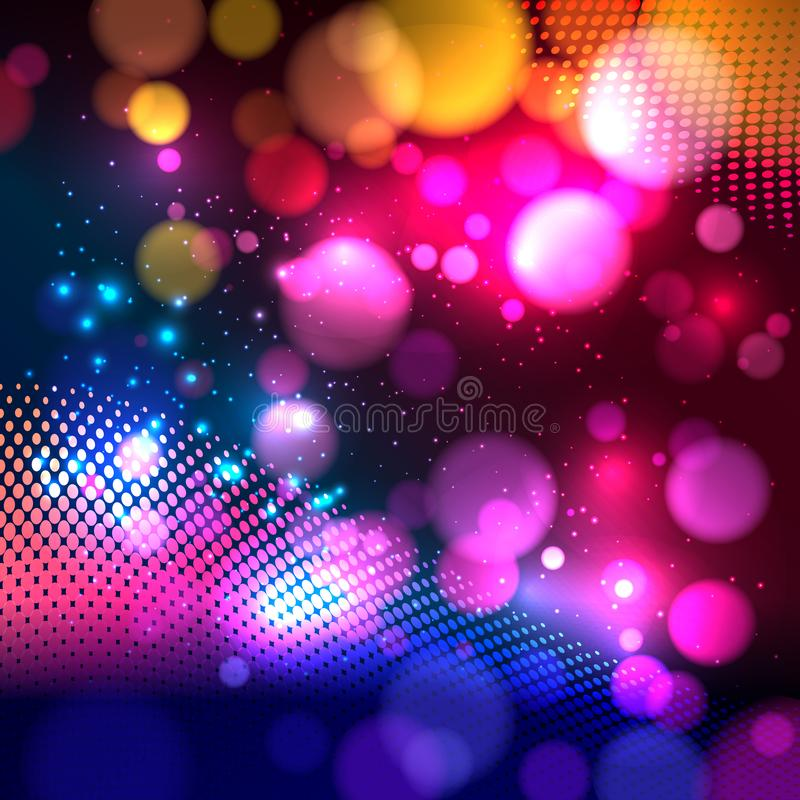 Bright colorful abstract background with defocused light bokeh. Vector illustration stock illustration