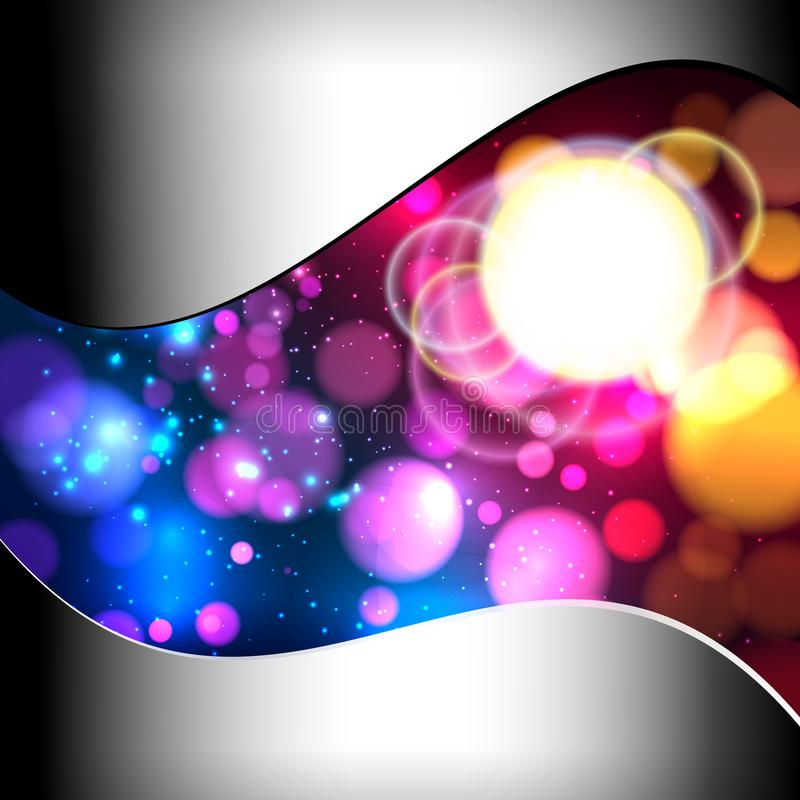Bright colorful abstract background with defocused light bokeh. Metal frame. Bright colorful abstract background with defocused light bokeh.Bright colorful royalty free illustration