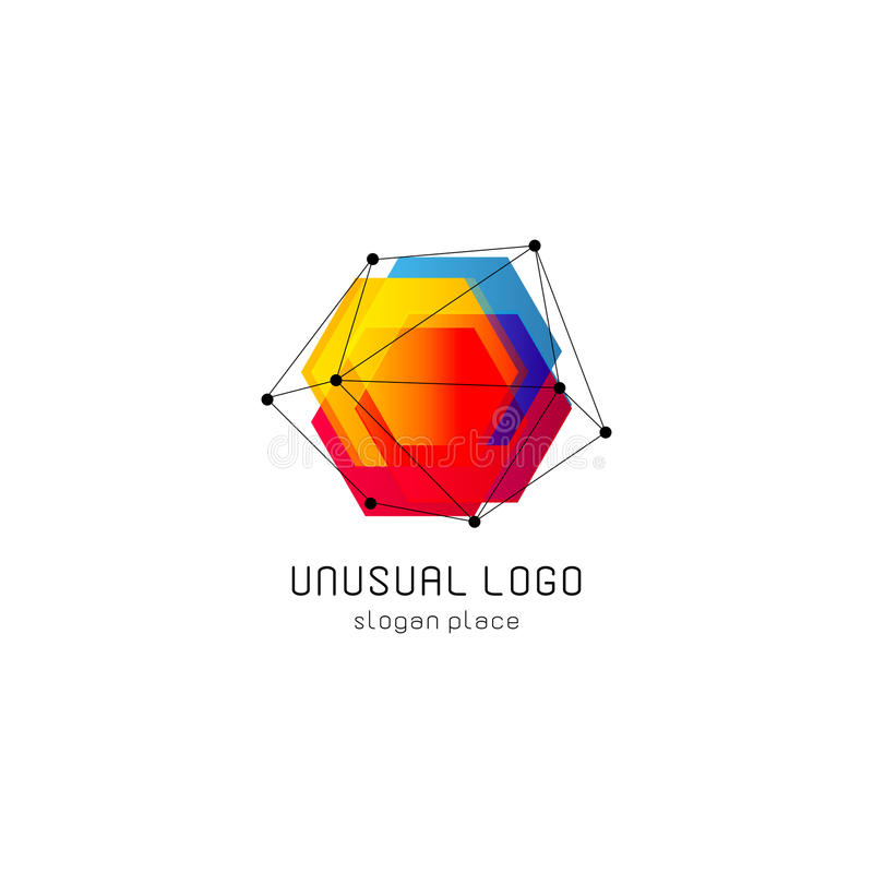 Bright colorful abstract poly construction logotype, unusual innovate design logo template, isolated polygon shape vector illustration