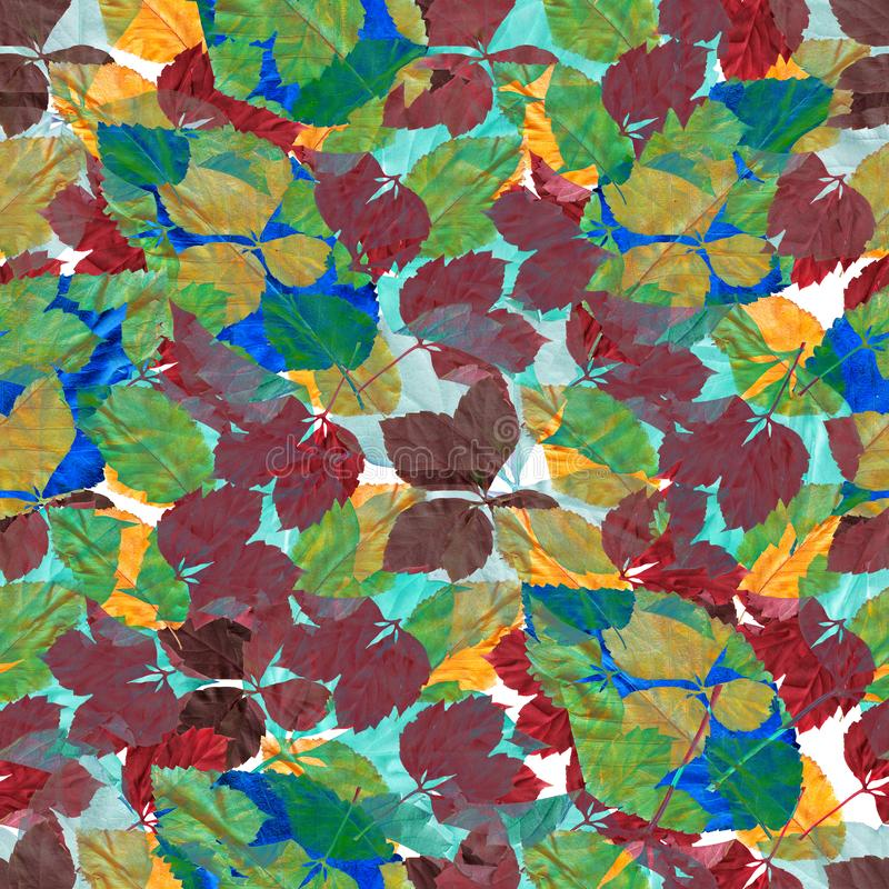 Bright colorful autumn leaves. Seamles pattern. Natural background. Mixed media vintage artwork stock illustration