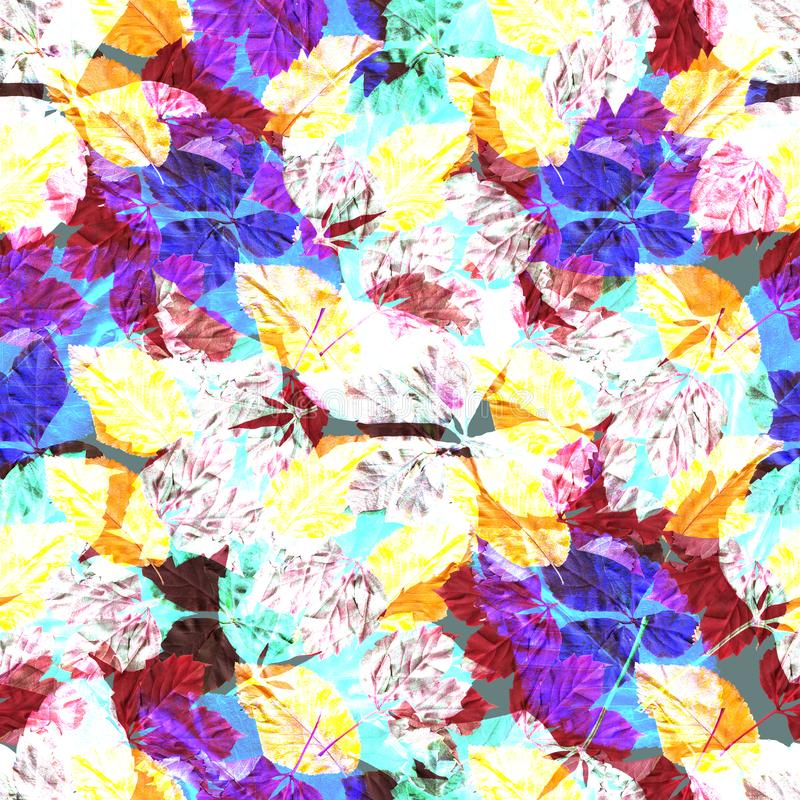 Bright colorful autumn leaves. Seamles pattern. Natural background. Mixed media vintage artwork royalty free illustration