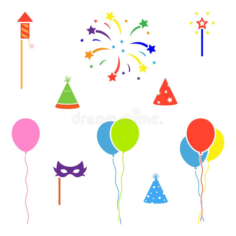 Bright colorful balloon, fireworks, rocket, birthday hat sign symbol icon. Party graphic design elements flat simple style. Bright colorful balloon, fireworks vector illustration