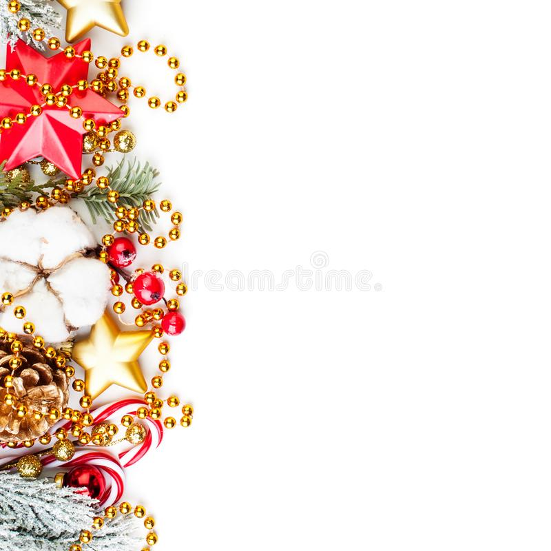 Bright colorful border of Christmas decor on white background.  royalty free stock photo