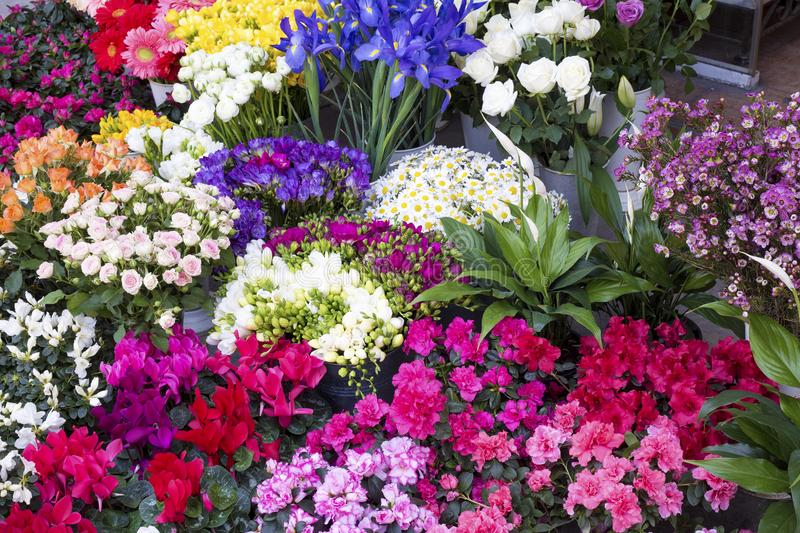 The colorful flower market. Bright colorful bunches at the flower market stock image