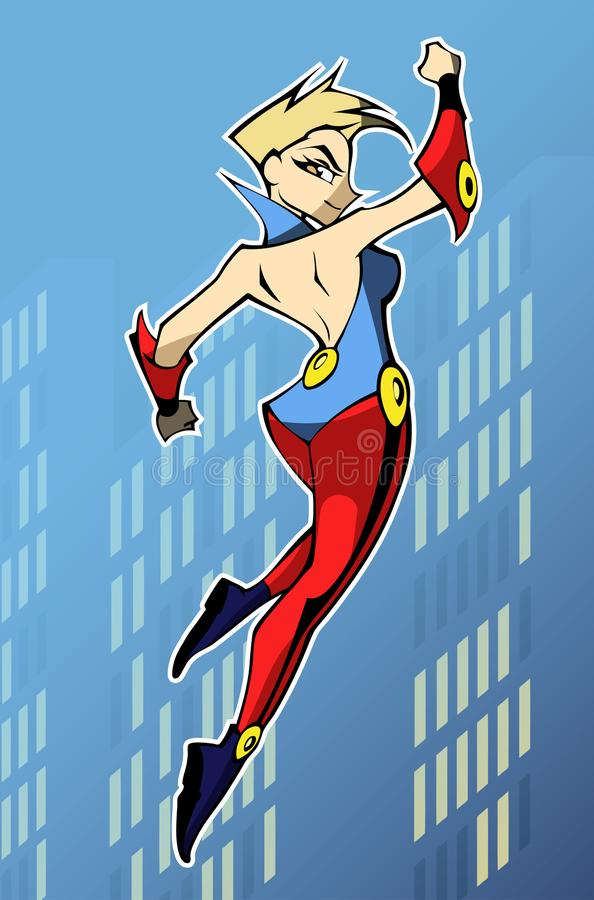 Bright and colorful cartoon illustration of funny and awesome superhero woman vector illustration