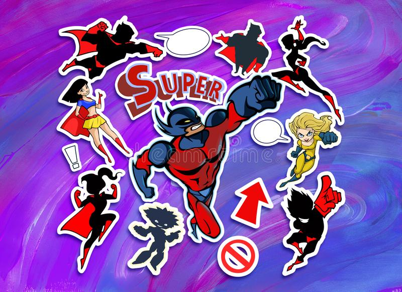 Bright and colorful cartoon set of funny and awesome superheroes stickers stock illustration