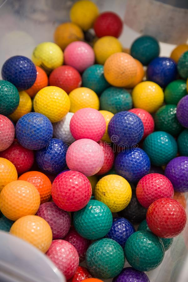 Bright colorful children plastic balls as a background. Kid`s playground royalty free stock image