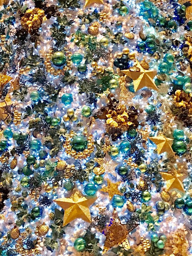 Bright and colorful Christmas tree decorations royalty free stock image