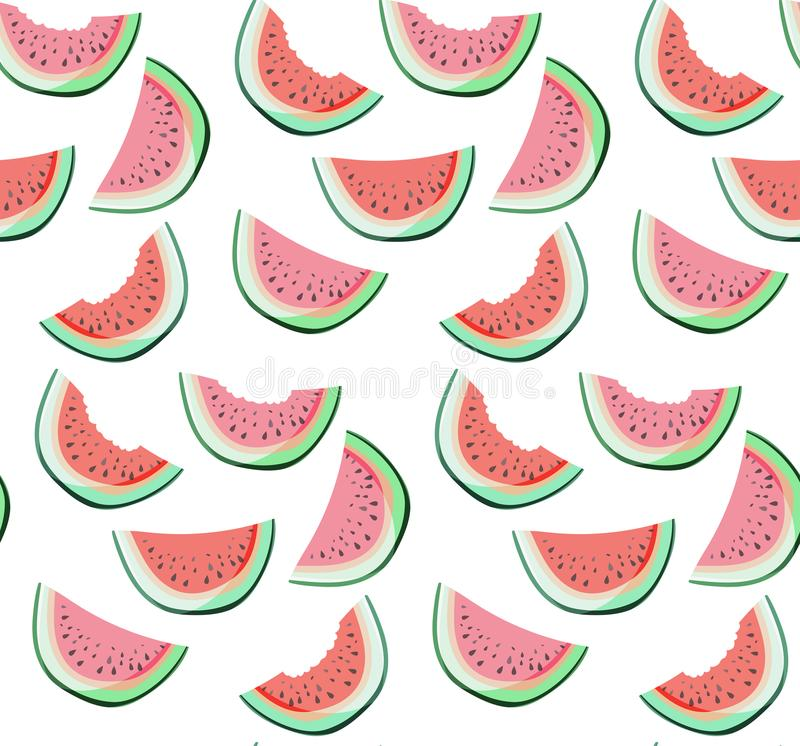 Bright colorful delicious tasty yummy ripe juicy cute lovely red summer fresh dessert slices of watermelon pattern. Paint like a child vector illustration vector illustration