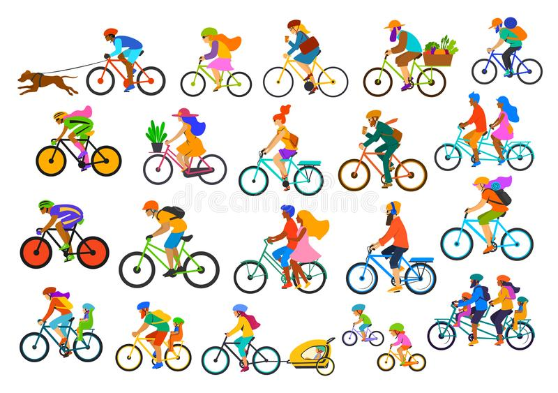Bright colorful different active people riding bikes collection, man woman couples family friends children cycling to office work,. Travel with backpacks,bicyle vector illustration