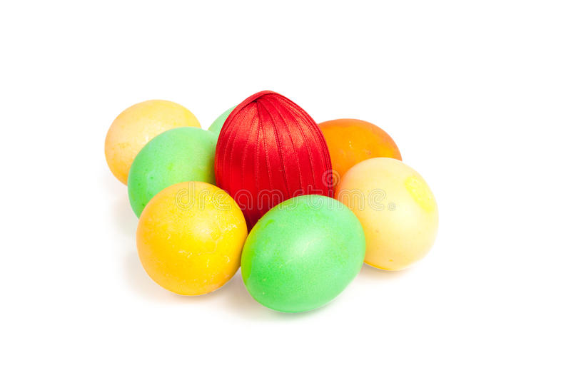 Bright  colorful eggs on white